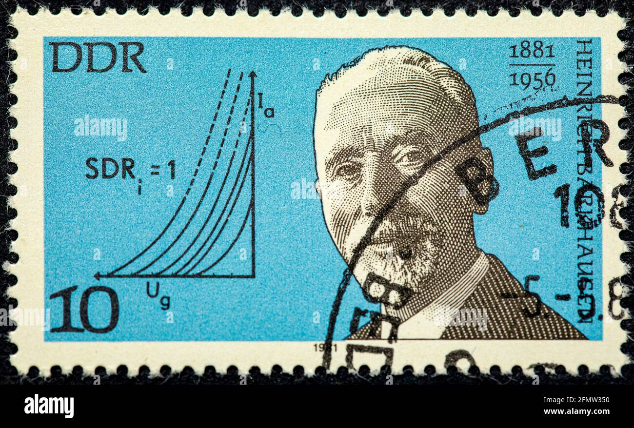 GERMANY- CIRCA 1981: stamp printed by Germany, shows Heinrich Barkhausen, German physicist, circa 1981. Stock Photo