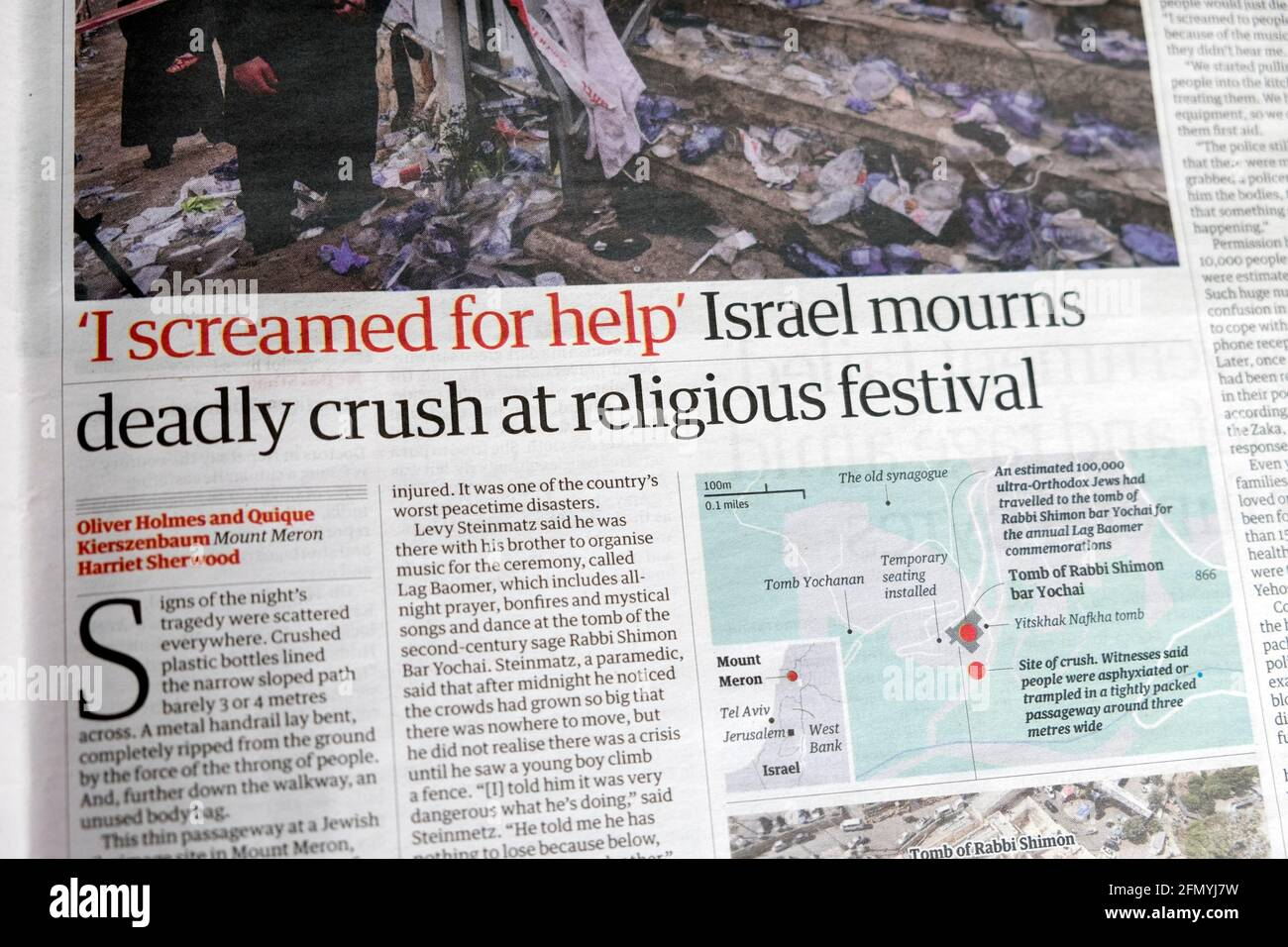 """'I screamed for help' """"Israel mourns deadly crush at religious festival"""" newspaper headline Mount Meron article in Guardian on 1 May 2021 London  UK Stock Photo"""