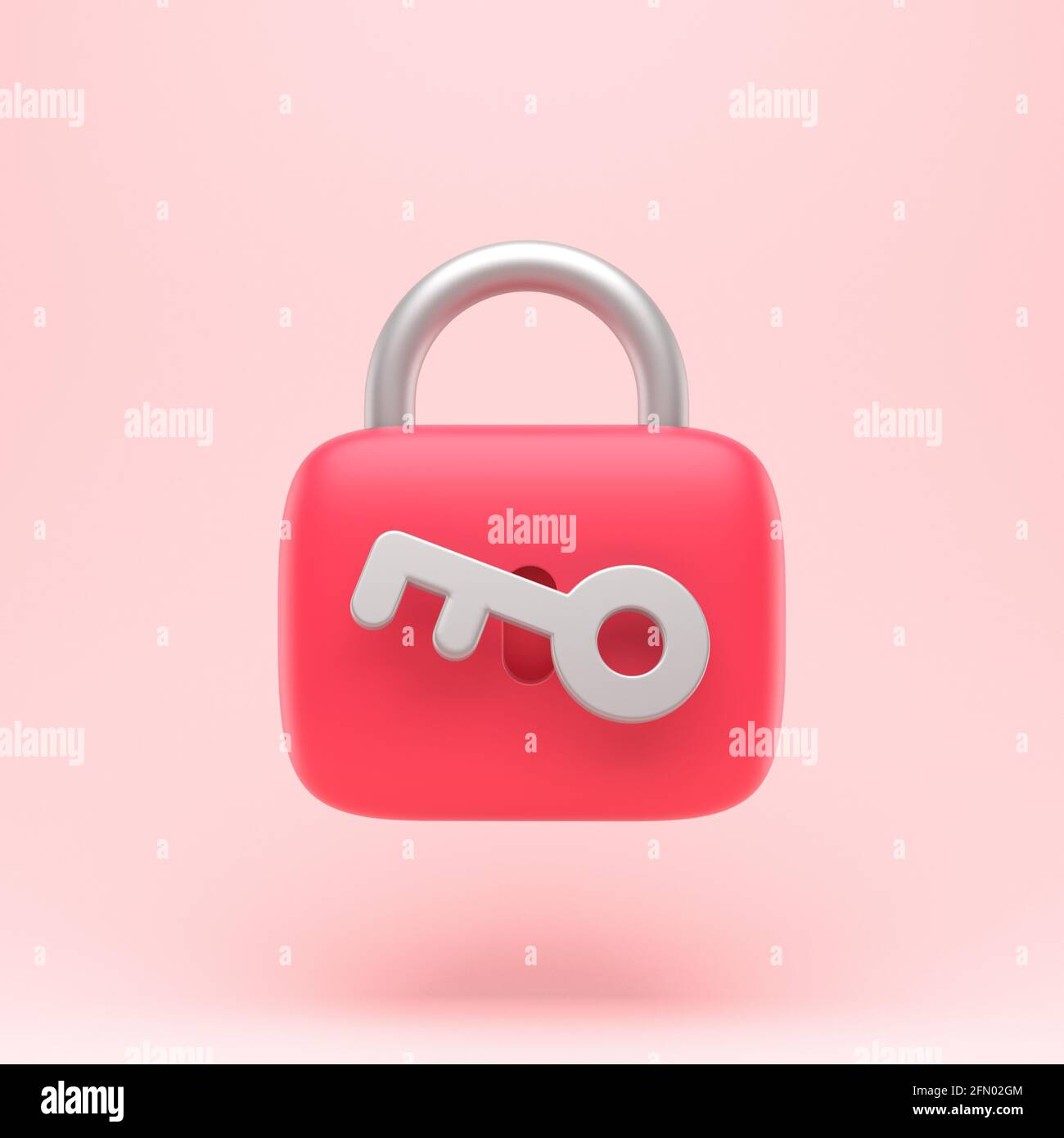 Lock icon with key simple 3d illustration on pastel abstract background. minimal concept. 3d rendering Stock Photo