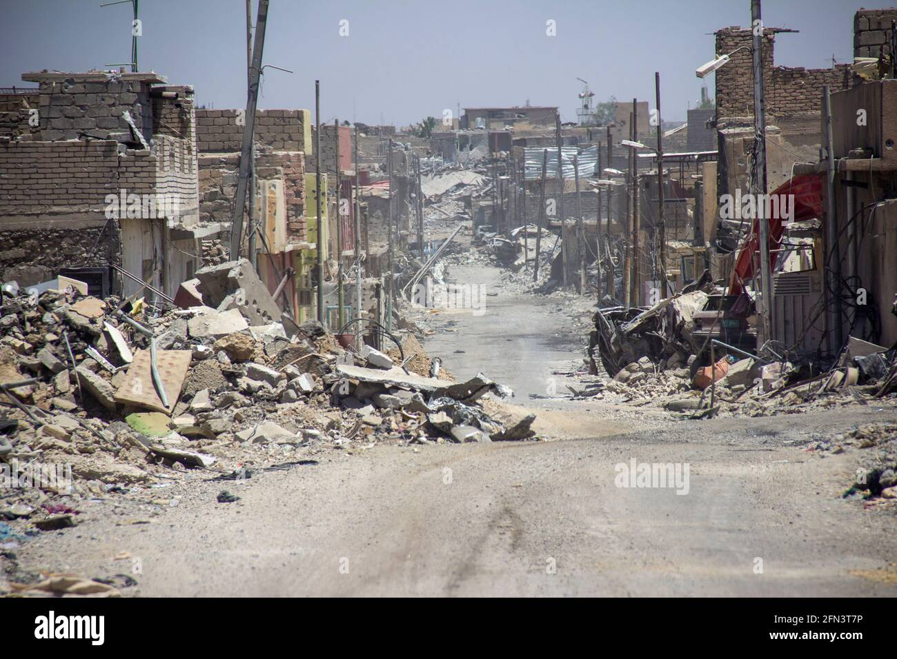 Destruction of buildings and property in West Mosul during the 2016-2017 Mosul Operation. Stock Photo