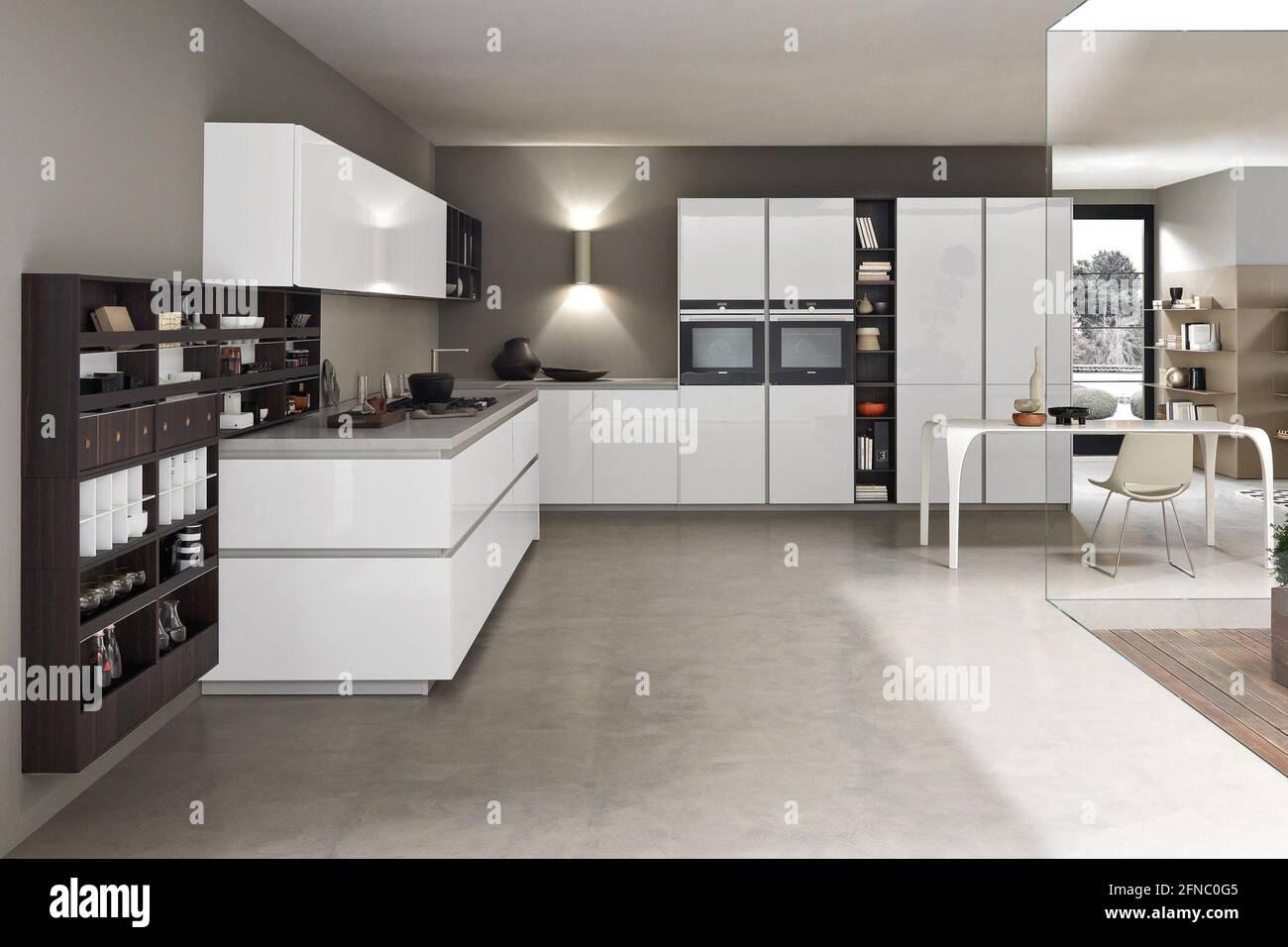 Hamburg, Germany – July 20 20019 Modern kitchen interior design in ...