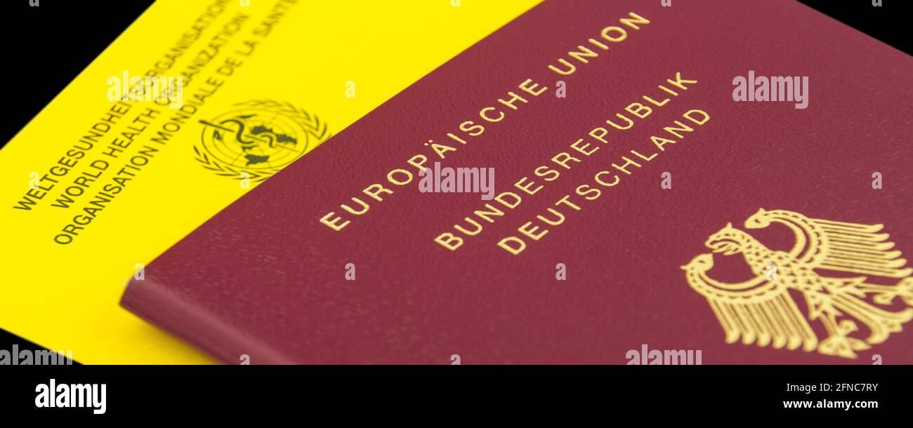 German Passport and Vaccination Certificate European Union Stock Photo