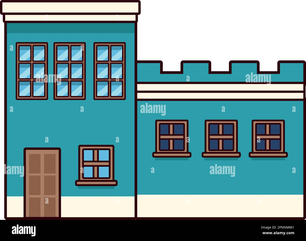 blue house front Stock Vector