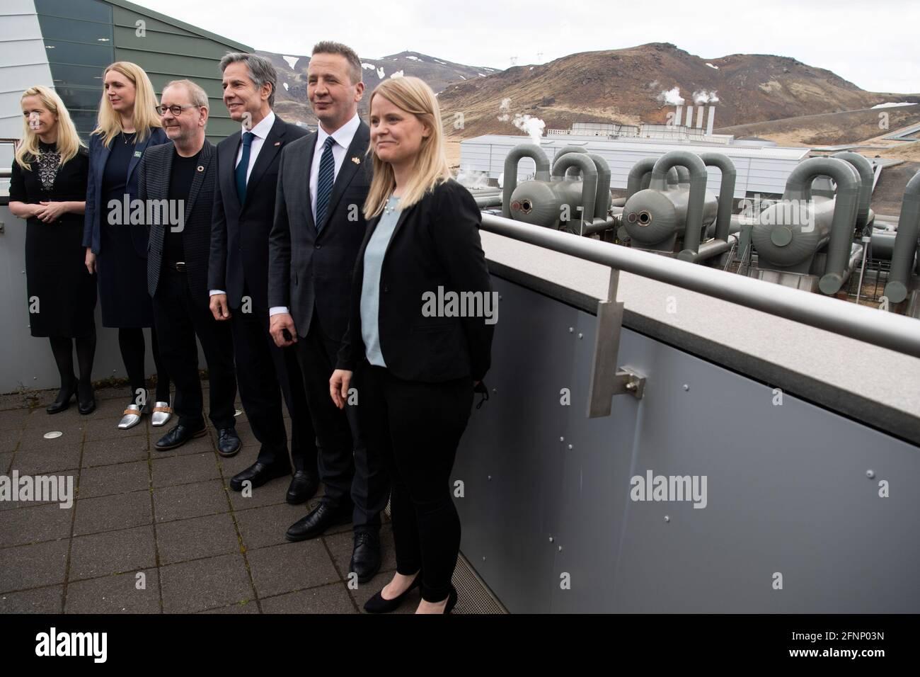 U.S. Secretary of State Antony Blinken stands alongside CEO of Reykjavik Energy Bjarni Bjarnason, and Icelandic Foreign Minister Gudlaugur Thor Thordarson, during a tour to the Hellisheidi Geothermal Plant, in Hengill, Iceland May 18, 2021. Saul Loeb/Pool via REUTERS Stock Photo