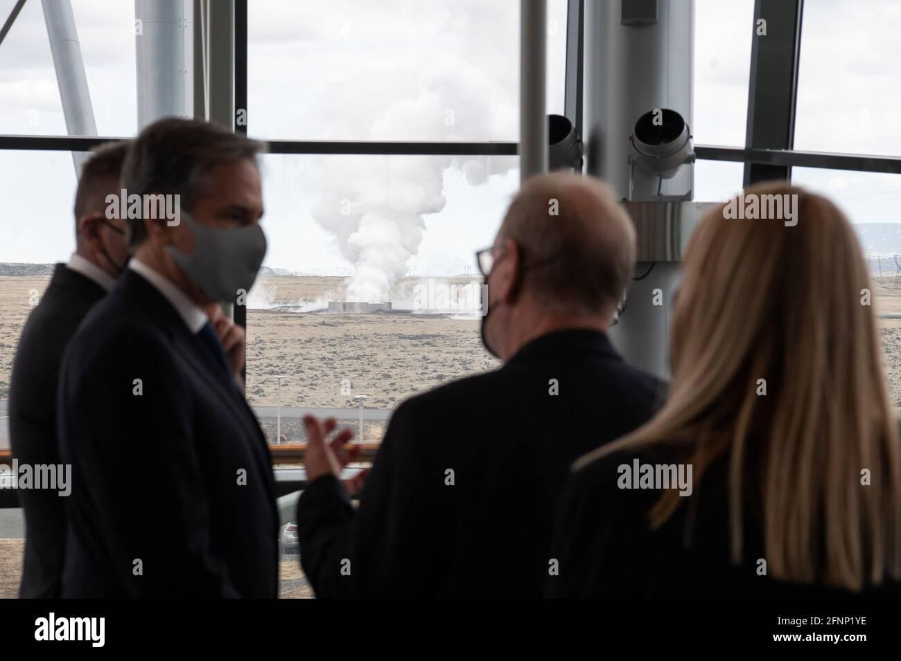 U.S. Secretary of State Antony Blinken speaks with CEO of Reykjavik Energy Bjarni Bjarnason during a tour to the Hellisheidi Geothermal Plant, in Hengill, Iceland May 18, 2021. Saul Loeb/Pool via REUTERS Stock Photo