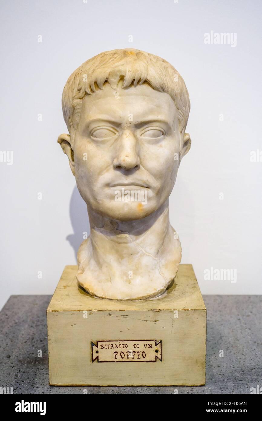 Bust of Poppeus - I sec BC Casa degli Amorini dorati (House of the Gilded cupids) Marble Pompeii archaeological site, Italy Stock Photo