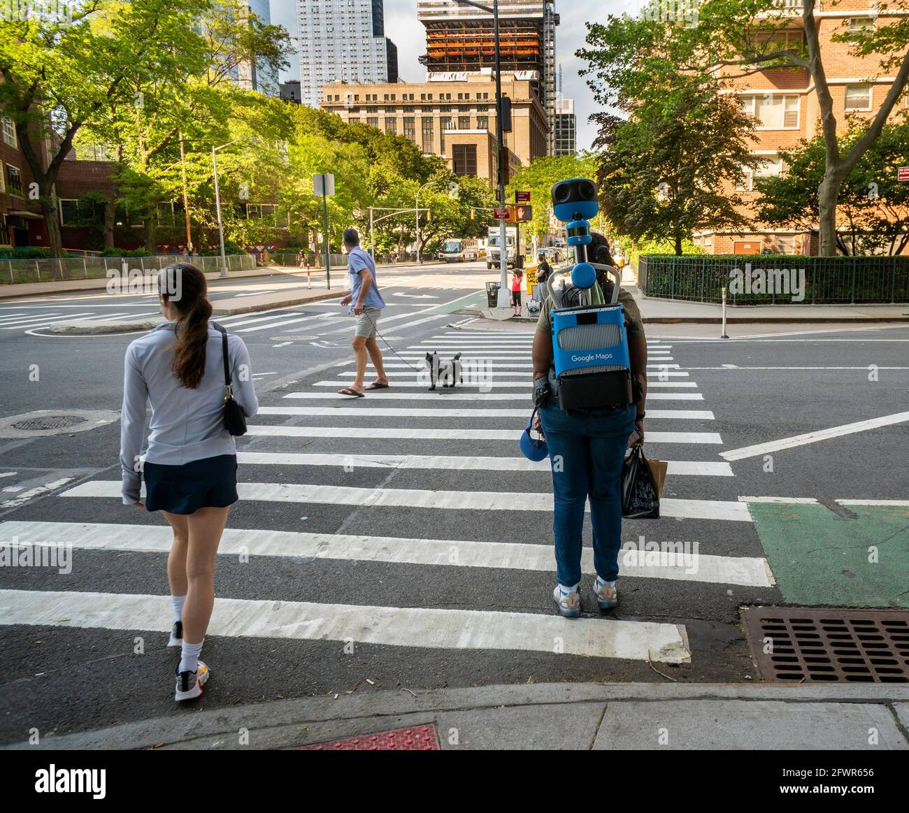 New York, USA. 20th May, 2021. A Google Maps walker in Chelsea in New York on Wednesday, May 20, 2021 . (Photo by Richard B. Levine) Credit: Sipa USA/Alamy Live News Stock Photo