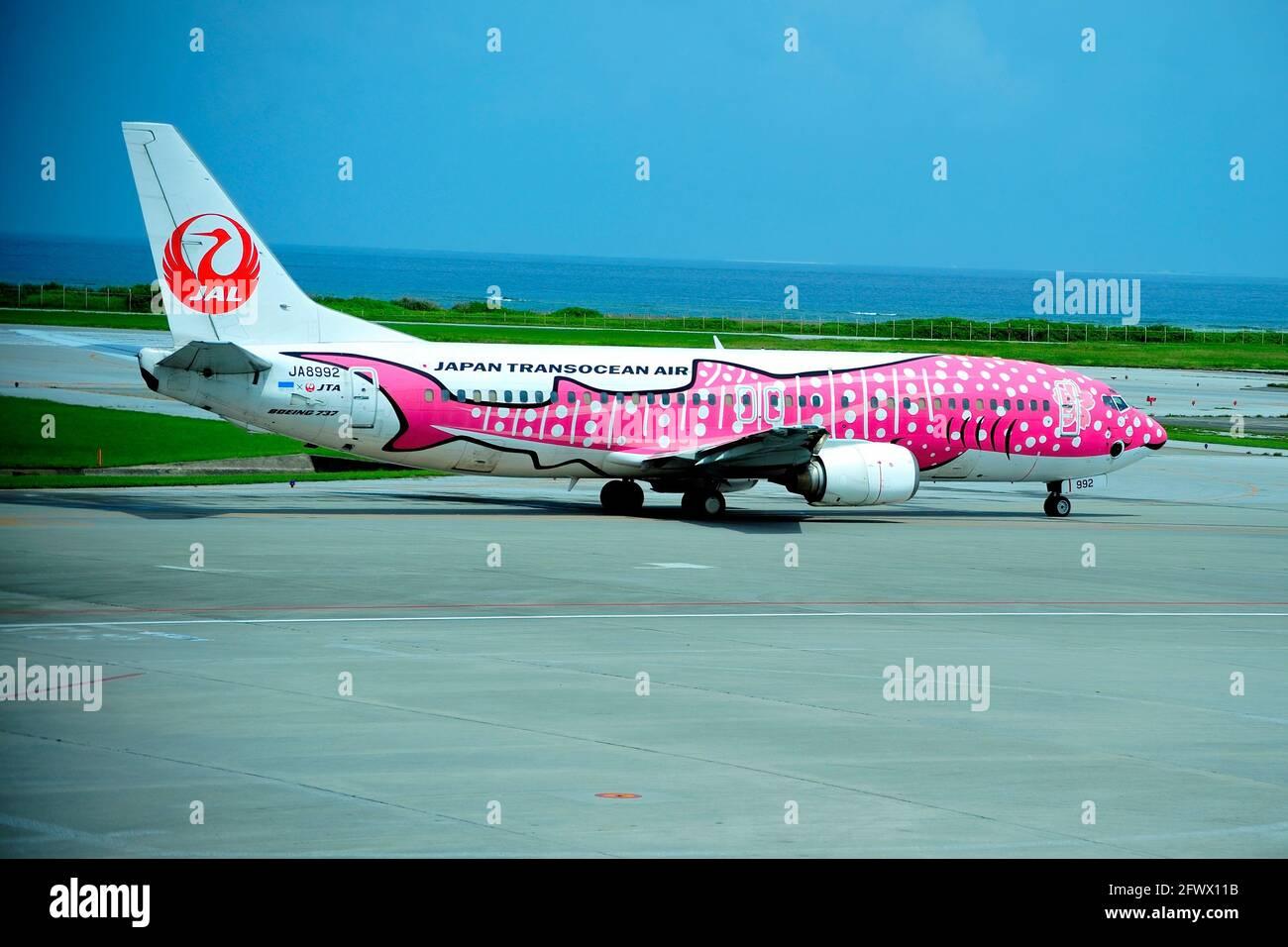 Pink Whale Shark, Japan Transocean, JTA Boeing B-737/400, JA8992, Taxi, To Take Off,  Naha Airport, Naha, Okinawa, Ryukyu Islands, Japan Stock Photo