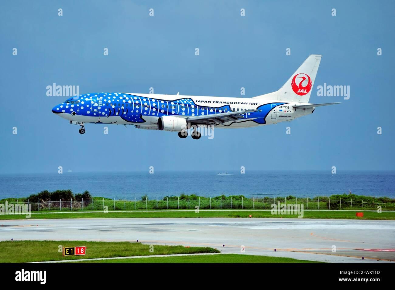 Japan Transocean Air, JTA, Boeing B-737/400, JA8939, Blue Whaleshark,  Landing, Naha Airport, Naha, Okinawa, Ryukyu Islands, Japan Stock Photo