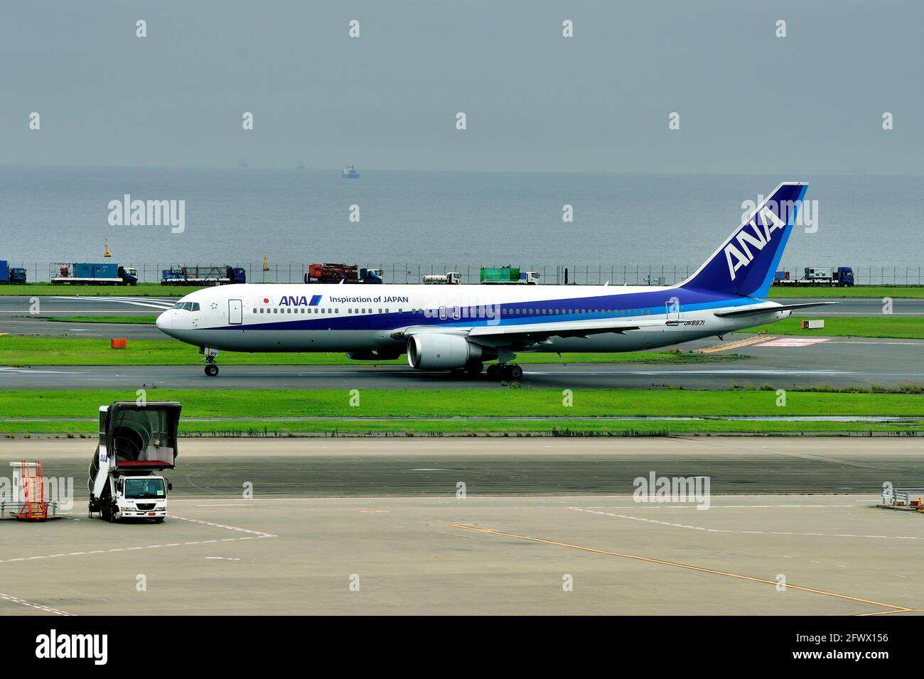 All Nippon Airways, ANA, Boeing, B-767/300, JA8971, Take Off, Naha Airport, Okinawa, Japan Stock Photo