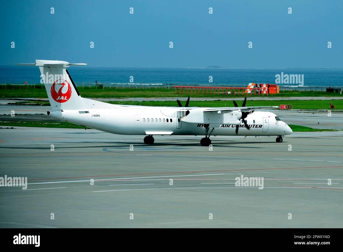 Ryukyu Air Commuter, RAC, De Havilland Canada Dash 8, DHC-8-200, JA82RC, Taxiing,  For Departure, Naha Airport, Okinawa, Japan Stock Photo