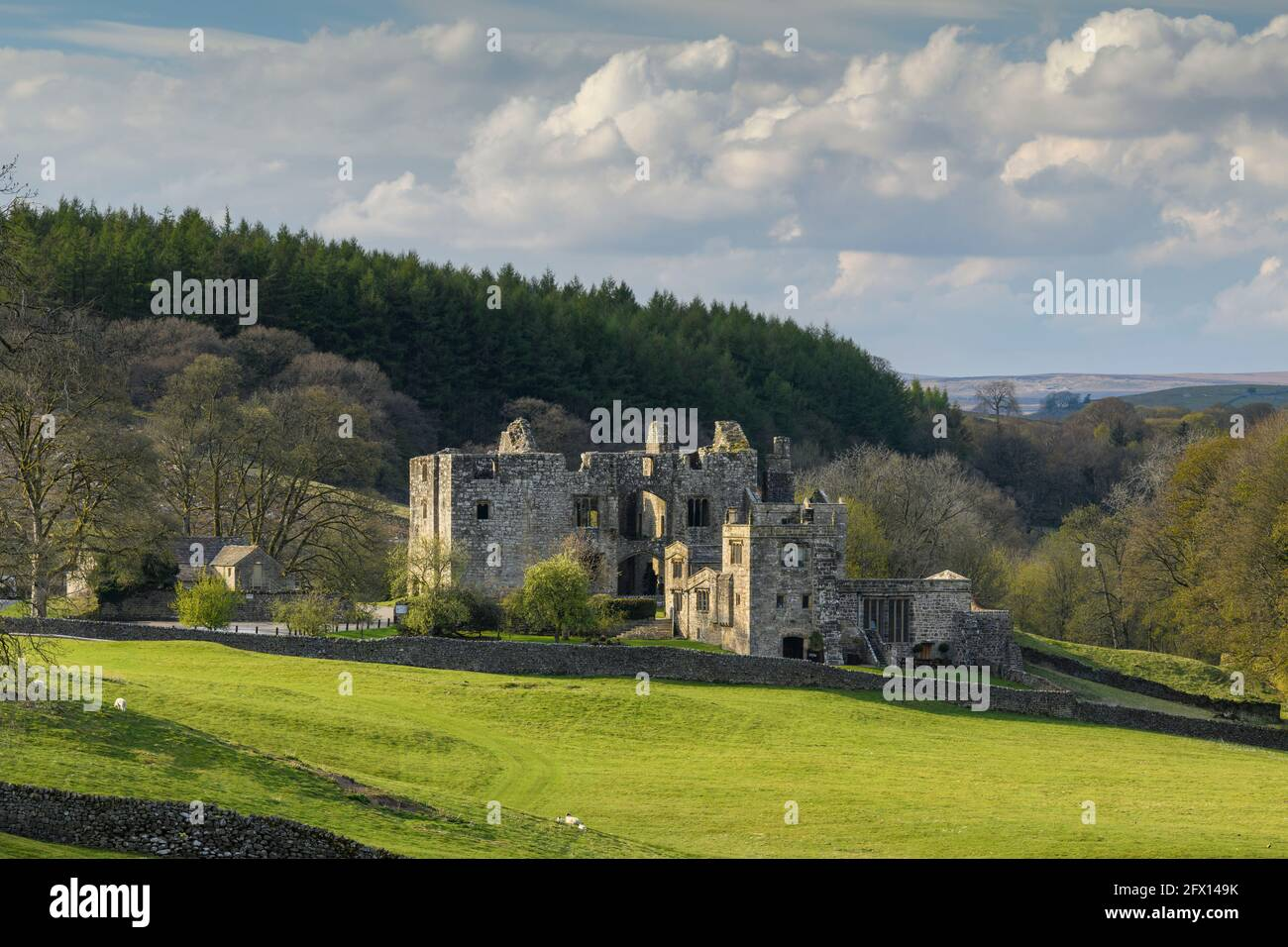 Barden Tower (historic ancient hunting lodge ruin in beautiful countryside setting) - scenic rural Bolton Abbey Estate, Yorkshire Dales, England, UK. Stock Photo