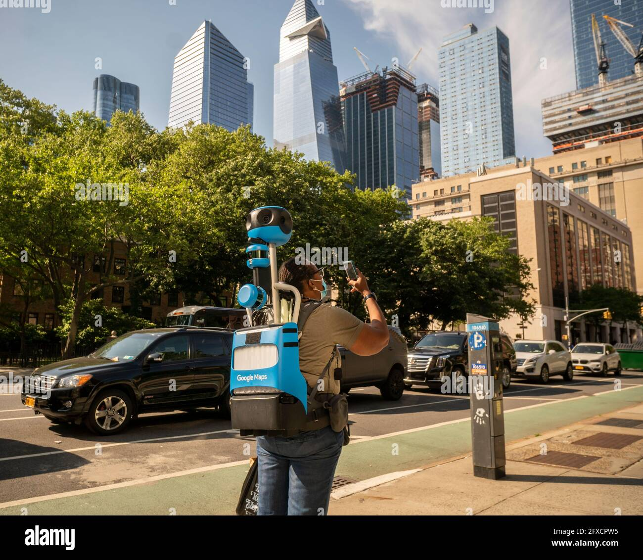 A Google Maps walker in Chelsea in New York on Wednesday, May 20, 2021 .  (© Richard B. Levine) Stock Photo