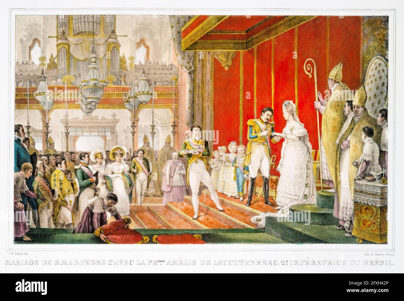 Marriage (wedding) of Dom Pedro I (1798-1834) Emperor of Brazil to his second wife Amélie of Leuchtenberg (1812-1873), Empress consort of Brazil (1829-1831) in 1829, lithographic print by Jean Baptiste Debret, 1834-1839 Stock Photo