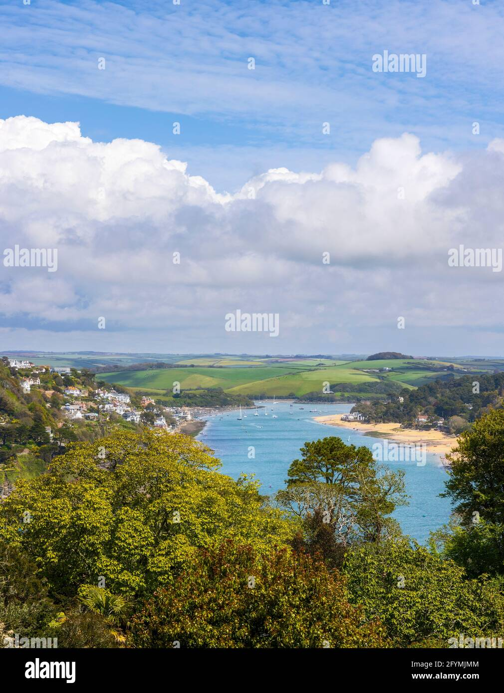 High view of Salcombe Harbour, Salcombe town and the stunning Devon countryside. Stock Photo