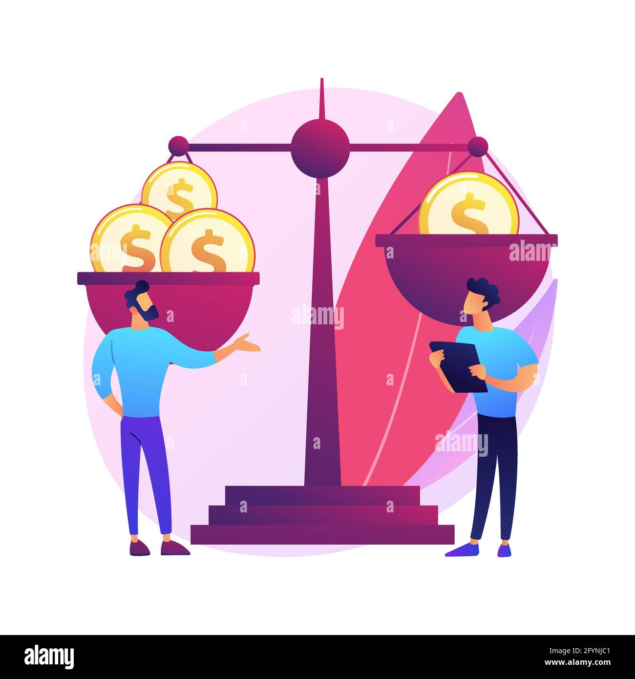 Income inequality abstract concept vector illustration. Country income distribution, financial gender discrimination, social economic inequality, gini Stock Vector