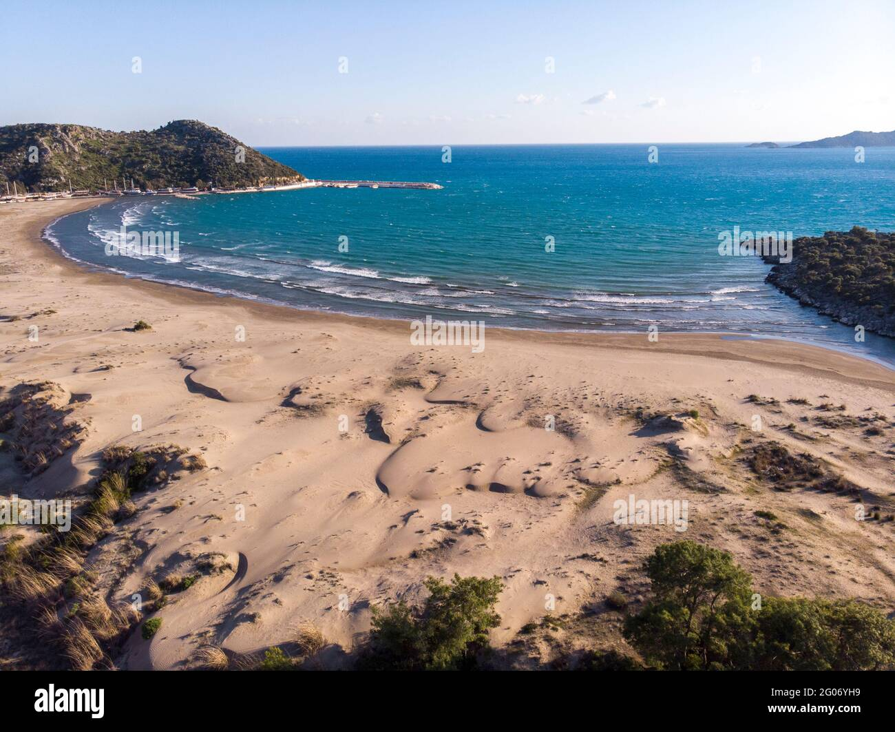 Aerial Remarkable historical sand beach on the mediterranean sea of demre Stock Photo