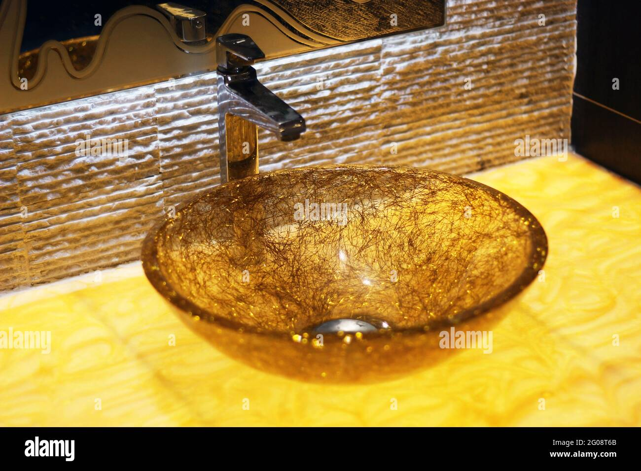Modern Hygienic Wash Basin Unique Sparkle Transparent Glass Resin Onyx Marble Glowing Lit Light Table Bathroom Stone Wall Backlit Mirror Tap Faucet Lu Stock Photo Alamy
