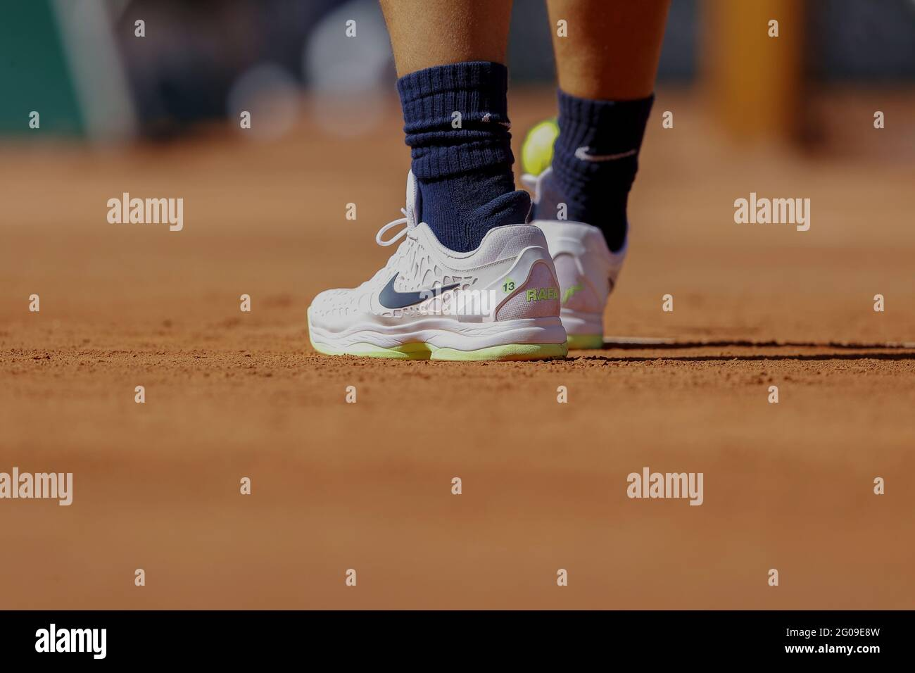 Paris France June 1 2021 Rafael Nadal Of Spain Illustration Shoes With Special Inscription 13 During The First Round Of Roland Garros 2021 Grand Slam Tennis Tournament On June 01 2021 At Roland Garros