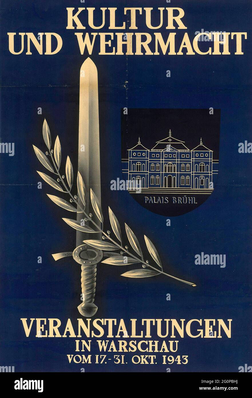 A vintage Nazi propaganda poster for Cultural and Army Events in Warsaw 1943 Stock Photo