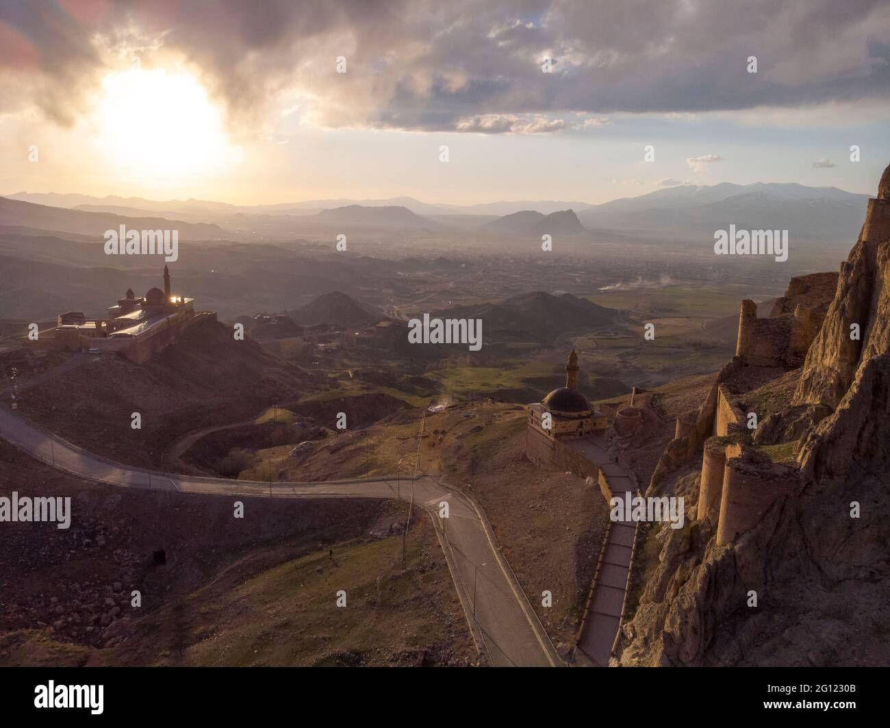 Fantastic Dramatic Aerial view of the ruins of the Dogubayazit castle, built on the mountain near Eski Bayezid Cami and the Ishak Pasha Palace Stock Photo