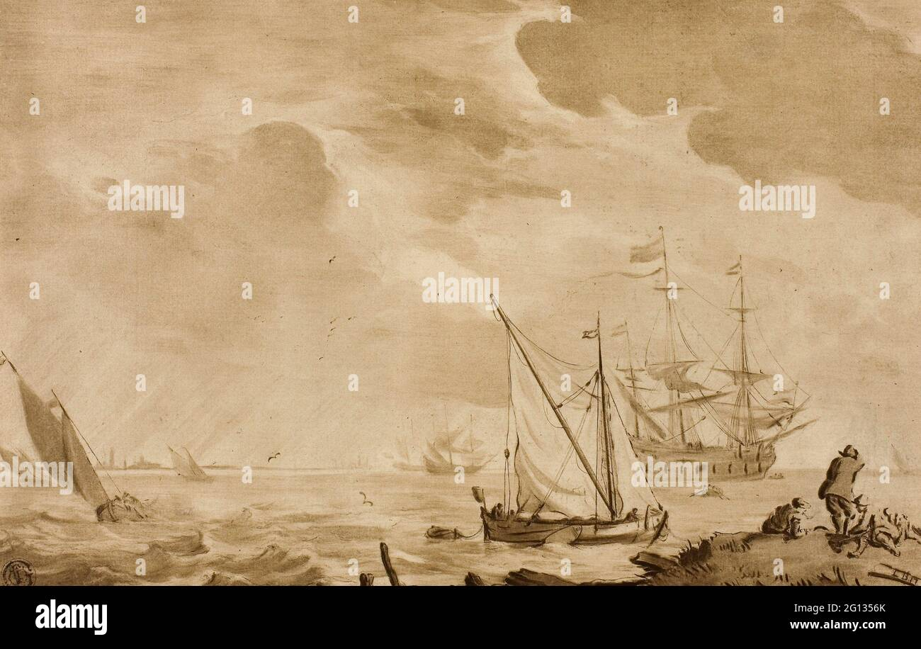Author: Jacob Cornelis Ploos van Amstel. Seascape - Jacob Cornelis Ploos van Amstel (Dutch, 1726-1798) or after Ludolf van Bakhuyzen (Dutch, 18th Stock Photo