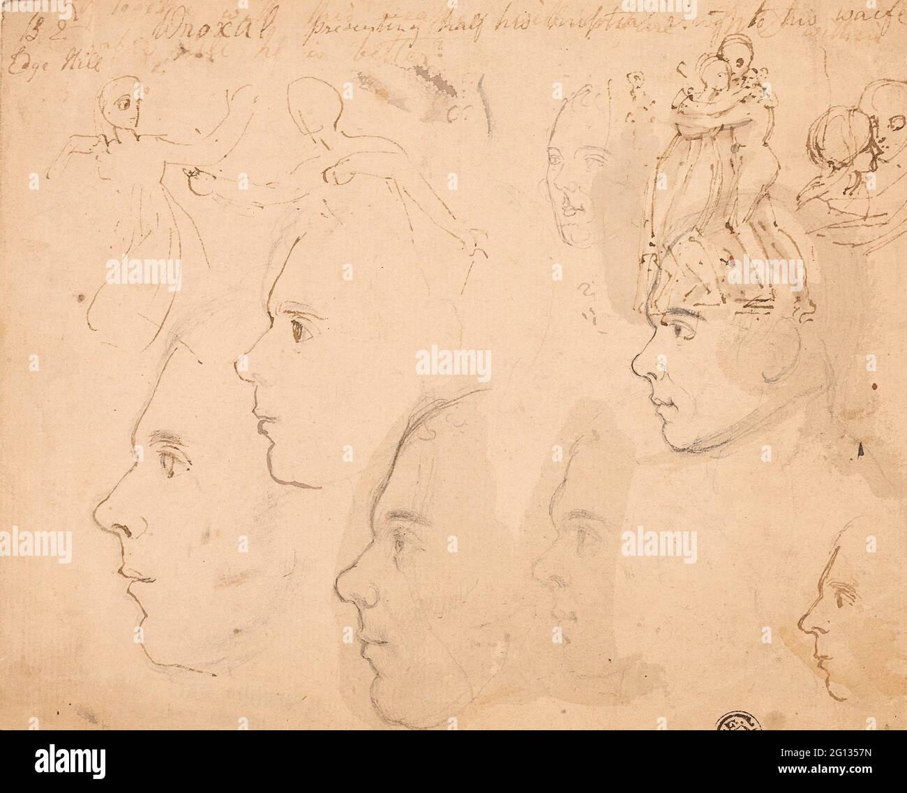 Author: Thomas Stothard. Sketches of Male Profiles, Couple Embracing - Attributed to Thomas Stothard English, 1755-1834. Graphite and pen and brown Stock Photo