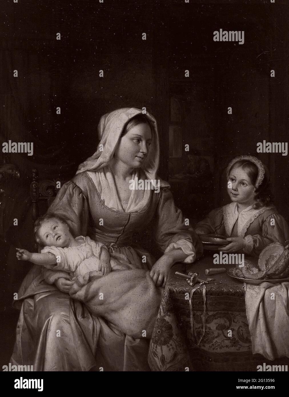 Author: Adriaan de Lelie. Mother and Two Children with Still Life - 1810 - Adriaen de Lelie Dutch, 1755-1820. Oil on panel. Holland. Stock Photo