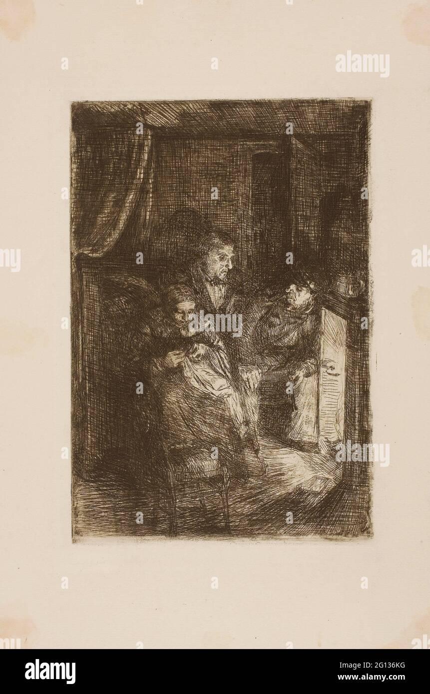 Author: Alphonse Legros. Fireside - Alphonse Legros French, 1837-1911. Etching on ivory laid paper. 1857 - 1911. France. Stock Photo