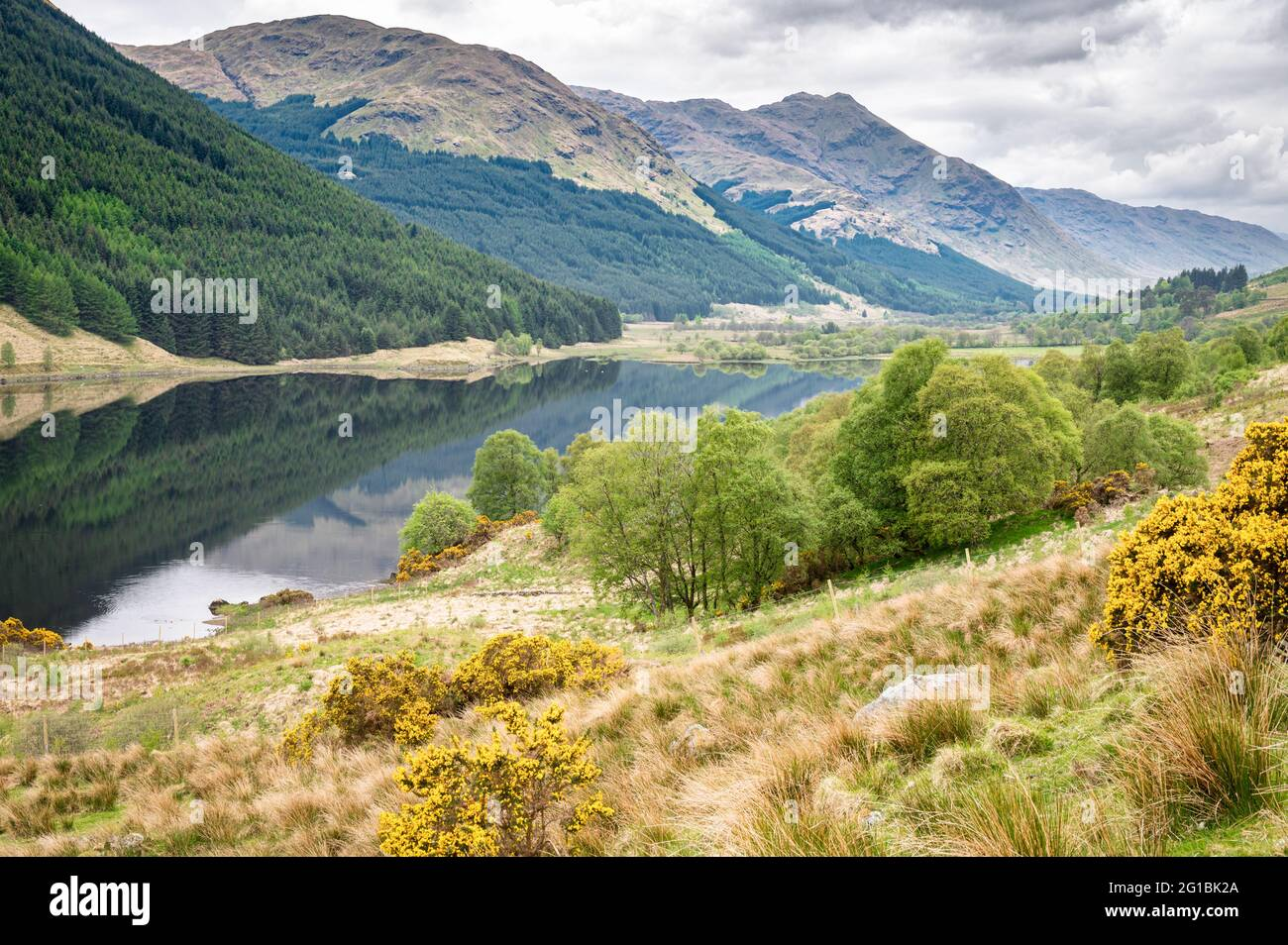 Loch Doine in a remote valley in the Scottish Highlands Stock Photo