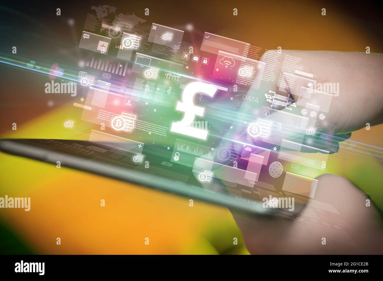 Close-up of a hand using tablet, currency concept Stock Photo