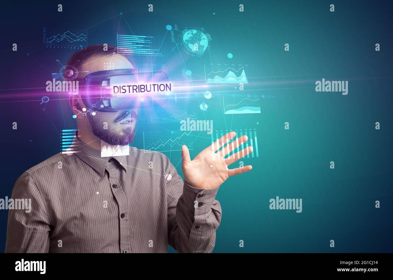 Businessman looking through Virtual Reality glasses Stock Photo