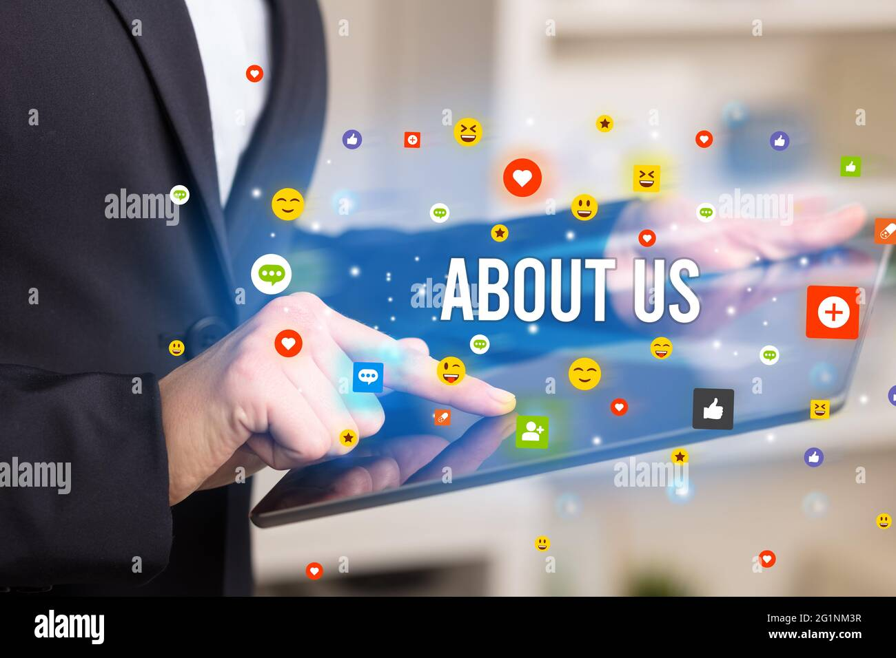 business person playing multimedia concept Stock Photo