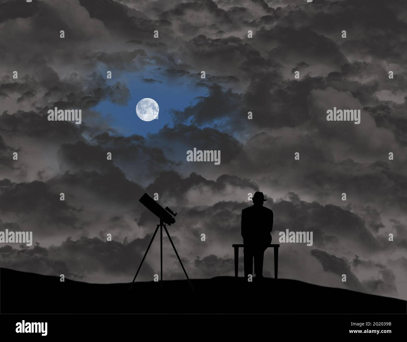 An amateur astronomer sits and waits for an opening in the clouds so he can view the sky with his telescope in this 3-d illustration. Stock Photo