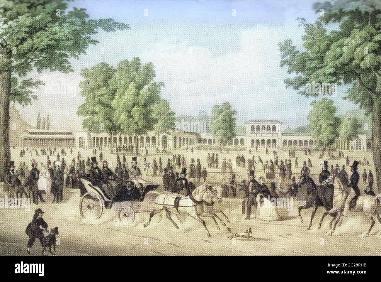 Machine colorized (AI) The Iron Fountain Pavilion and the Arkadenbau in Bad Kissingen, Germany. lithograph by Christian Weiss and H kuber 1850 Stock Photo