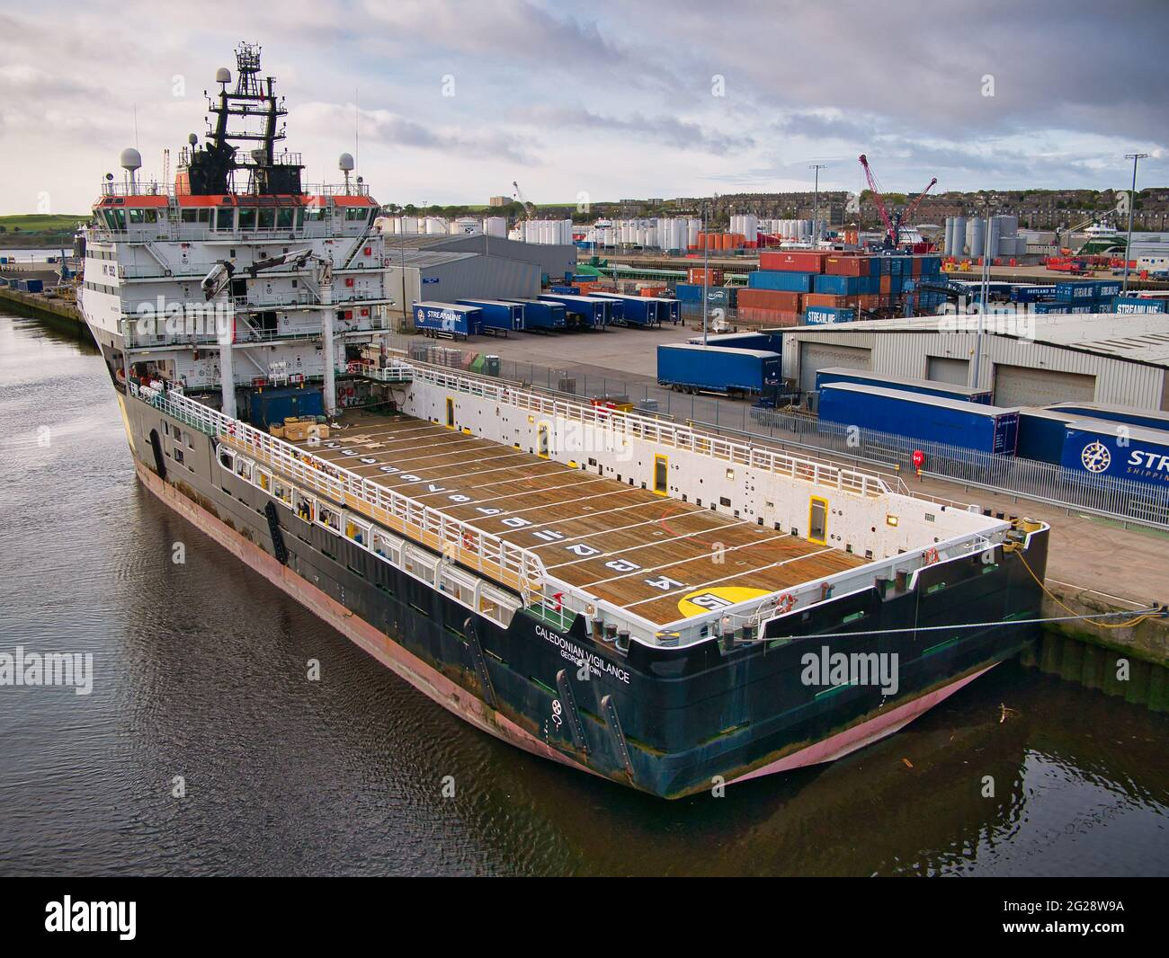 Caledonian Vigilence berthed in the port of Aberdeen, Scotland, UK - this ship is an Offshore Tug and Supply Ship built in 2006. Stock Photo