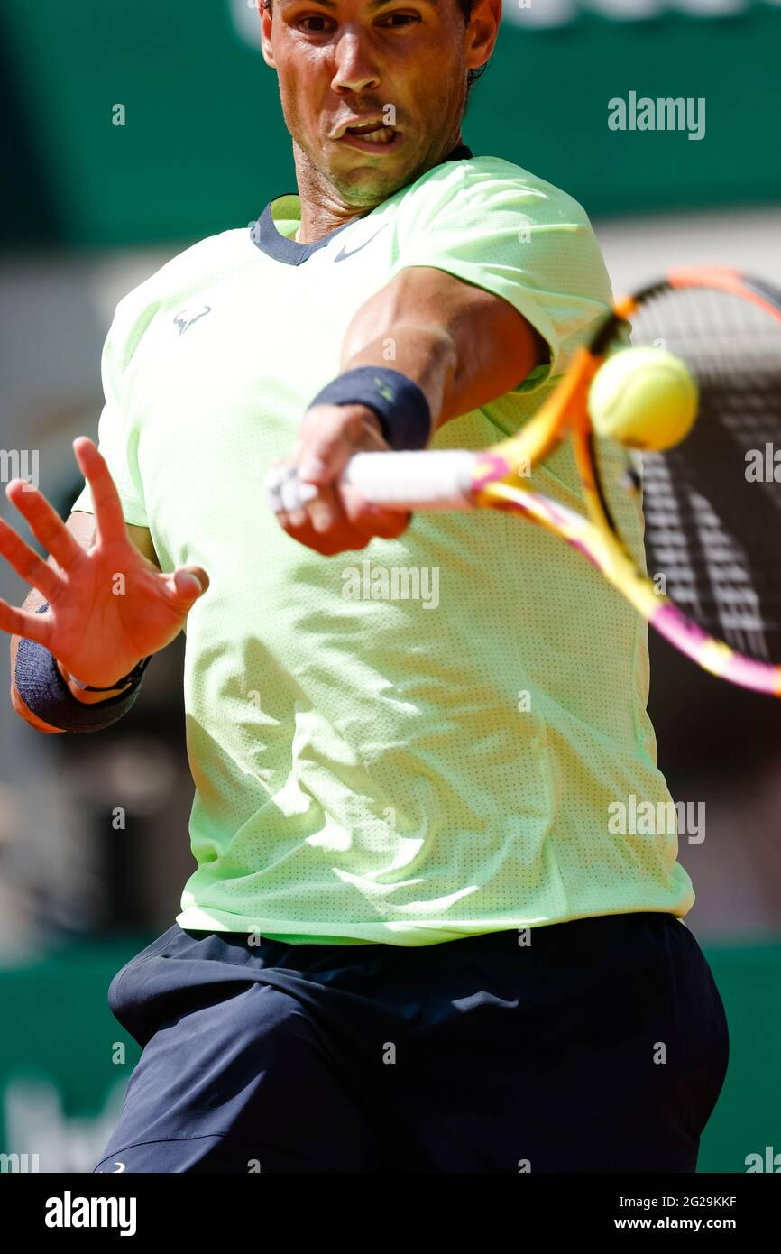 Paris, France. 9th June, 2021. Rafael Nadal from Spain at the 2021 French Open Grand Slam tennis tournament in Roland Garros, Paris, France. Frank Molter/Alamy Live news Stock Photo