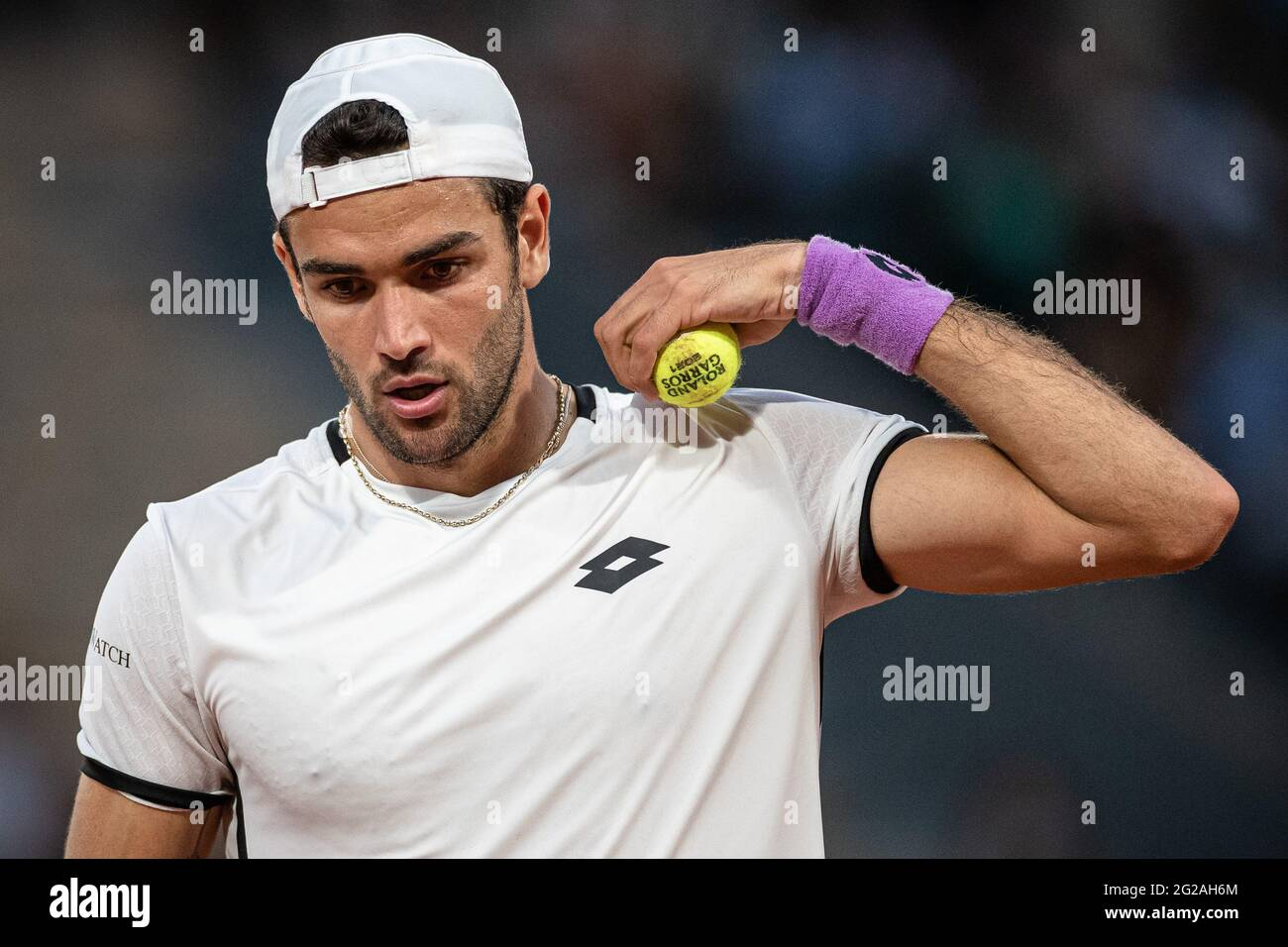 Paris, France. 9th June, 2021. Matteo Berrettini of Italy reacts during the men's singles quarterfinal against Novak Djokovic of Serbia at the French Open tennis tournament at Roland Garros in Paris, France, June 9, 2021. Credit: Aurelien Morissard/Xinhua/Alamy Live News Stock Photo