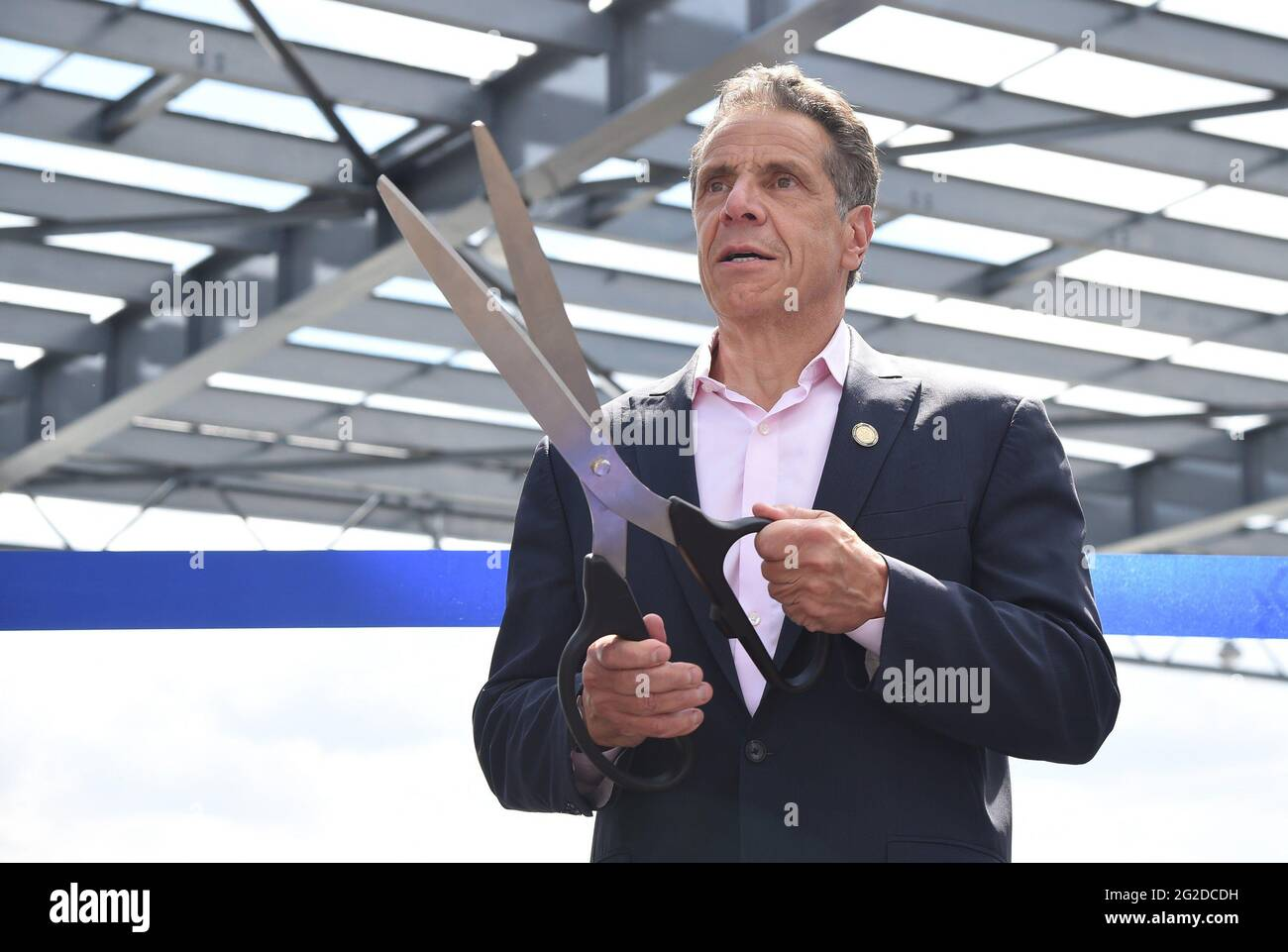 New York, NY, USA. 9th June, 2021. Andrew Cuomo at a public appearance for Governor Andrew M. Cuomo Ribbon Cutting at Grand Opening of Pier 76, behind the Javits Center, New York, NY June 9, 2021. Credit: Kristin Callahan/Everett Collection/Alamy Live News Stock Photo