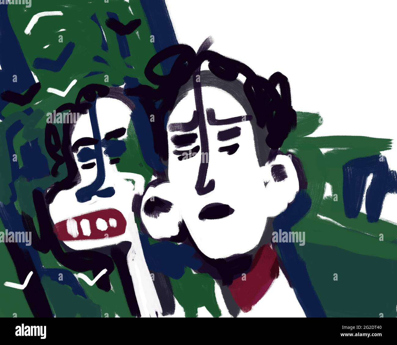 Couple walking with nature in background, sad and angry faces. Expressionist digital painting illustration for print, poster and art product. Stock Photo