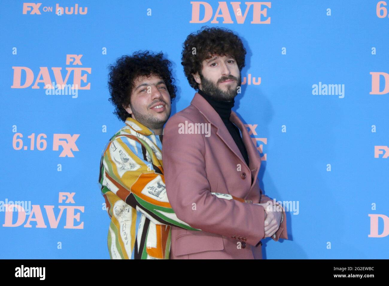 Los Angeles, CA. 10th June, 2021. Benny Blanco and Dave Burd at arrivals for DAVE Season 2 Premiere on FXX, The Greek Theater, Los Angeles, CA June 10, 2021. Credit: Priscilla Grant/Everett Collection/Alamy Live News Stock Photo