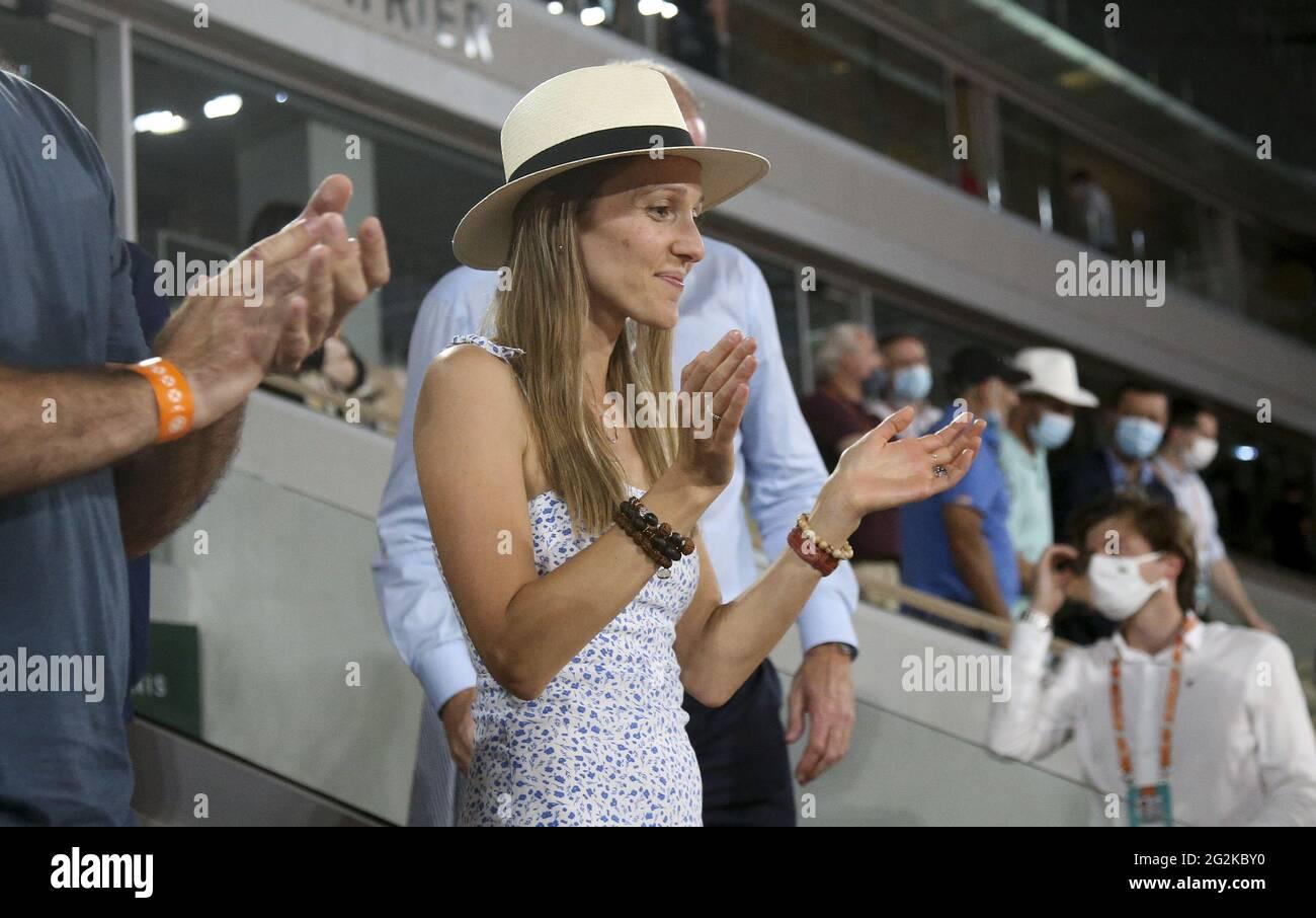 Paris France 11th June 2021 Jelena Djokovic Wife Of Novak Djokovic Celebrates His Semifinal Victory Over Rafael Nadal Of Spain During Day 13 Of Roland Garros 2021 French Open 2021 A Grand Slam