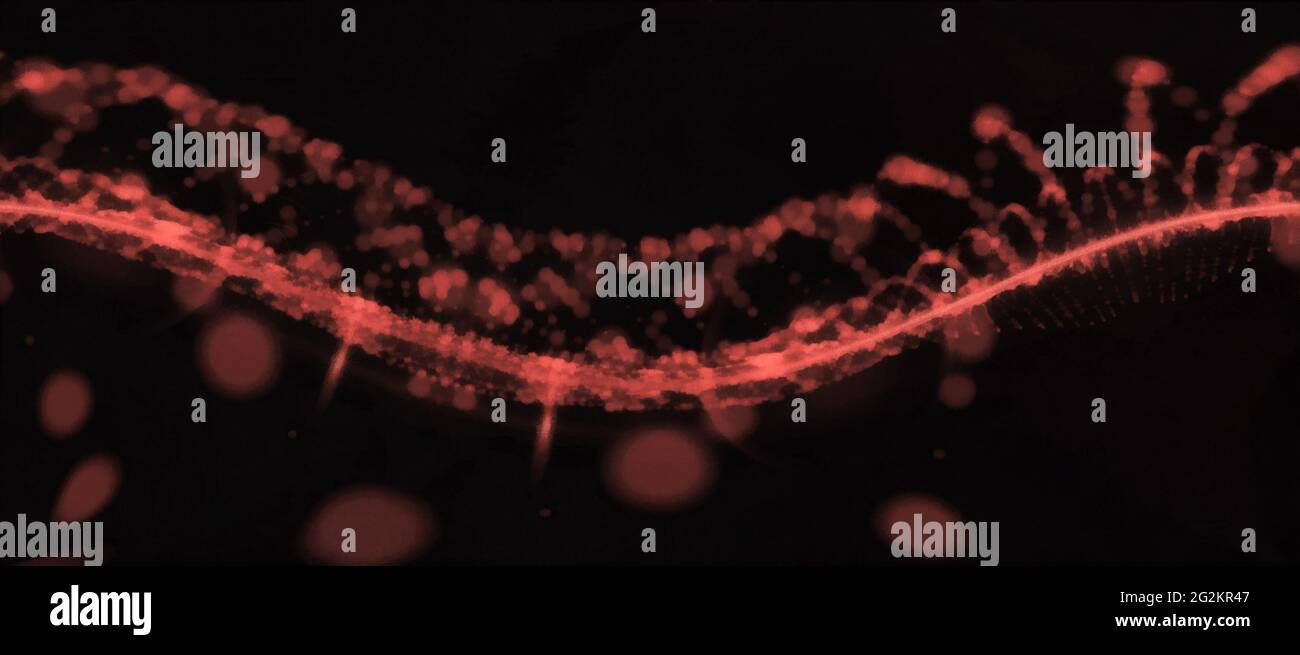 Abstract red spiral. Wide panoramic view. Black background Stock Photo