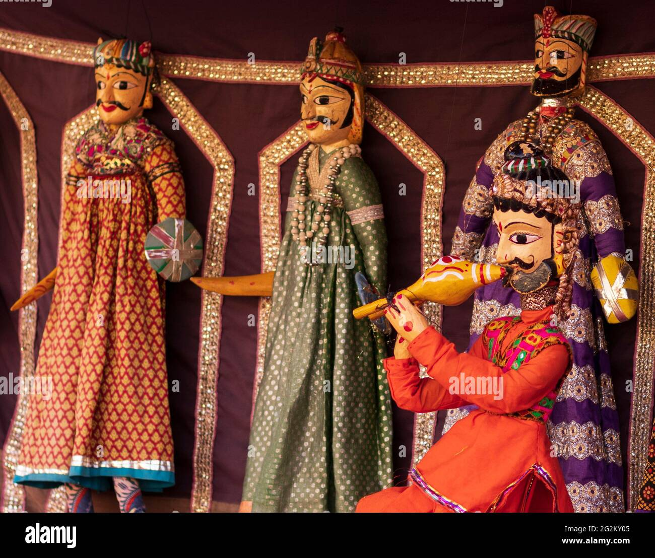 Rajasthani Handmade Katputli Or Puppet in Jaipur City Palace. Stock Photo