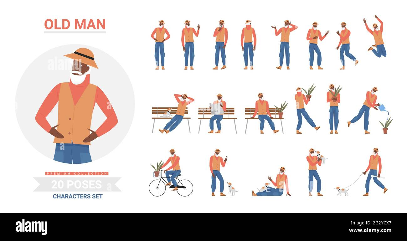 African american black old man poses infographic vector illustration set. Cartoon elderly bearded hipster character posing, standing and jumping, walking with dog and sitting on bench isolated Stock Vector