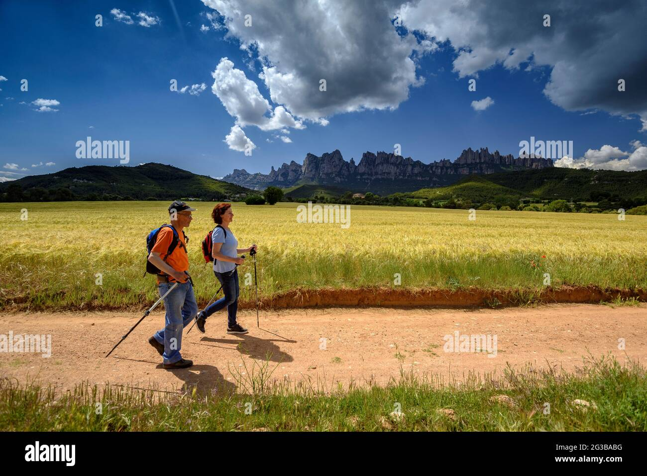 Hikers walking between fields in the Pla de Masroig, with the mountain of Montserrat in the background (Bages, Barcelona, Catalonia, Spain) Stock Photo