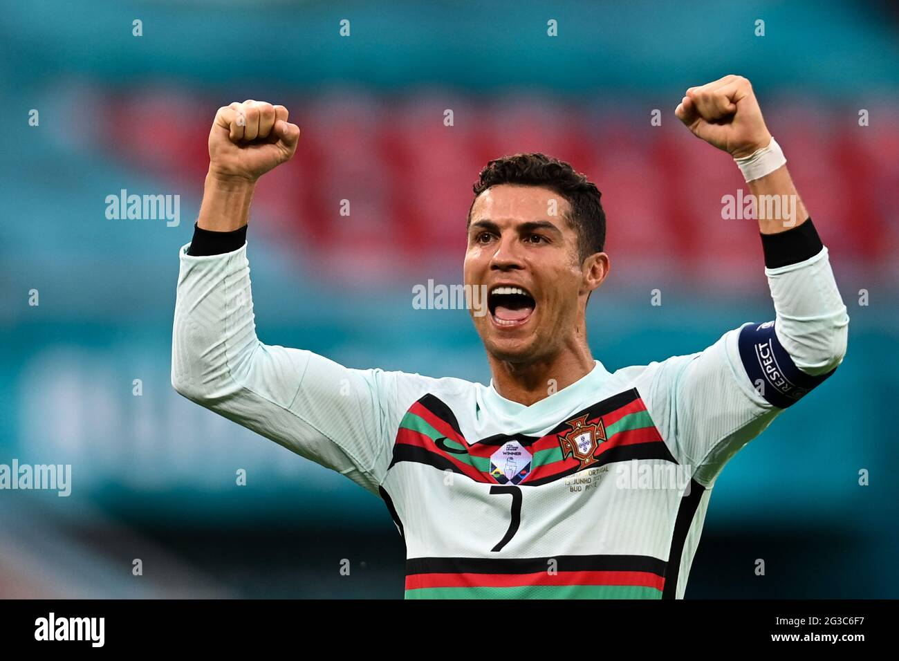 15 June 2021, Hungary, Budapest: Football: European Championship, Hungary - Portugal, preliminary round, Group F, Matchday 1 at Puskás Arena. Portugal's Cristiano Ronaldo celebrates the victory of the Portuguese. Important: For editorial news reporting purposes only. Not used for commercial or marketing purposes without prior written approval of UEFA. Images must appear as still images and must not emulate match action video footage. Photographs published in online publications (whether via the Internet or otherwise) shall have an interval of at least 20 seconds between the posting. Photo: Rob Stock Photo