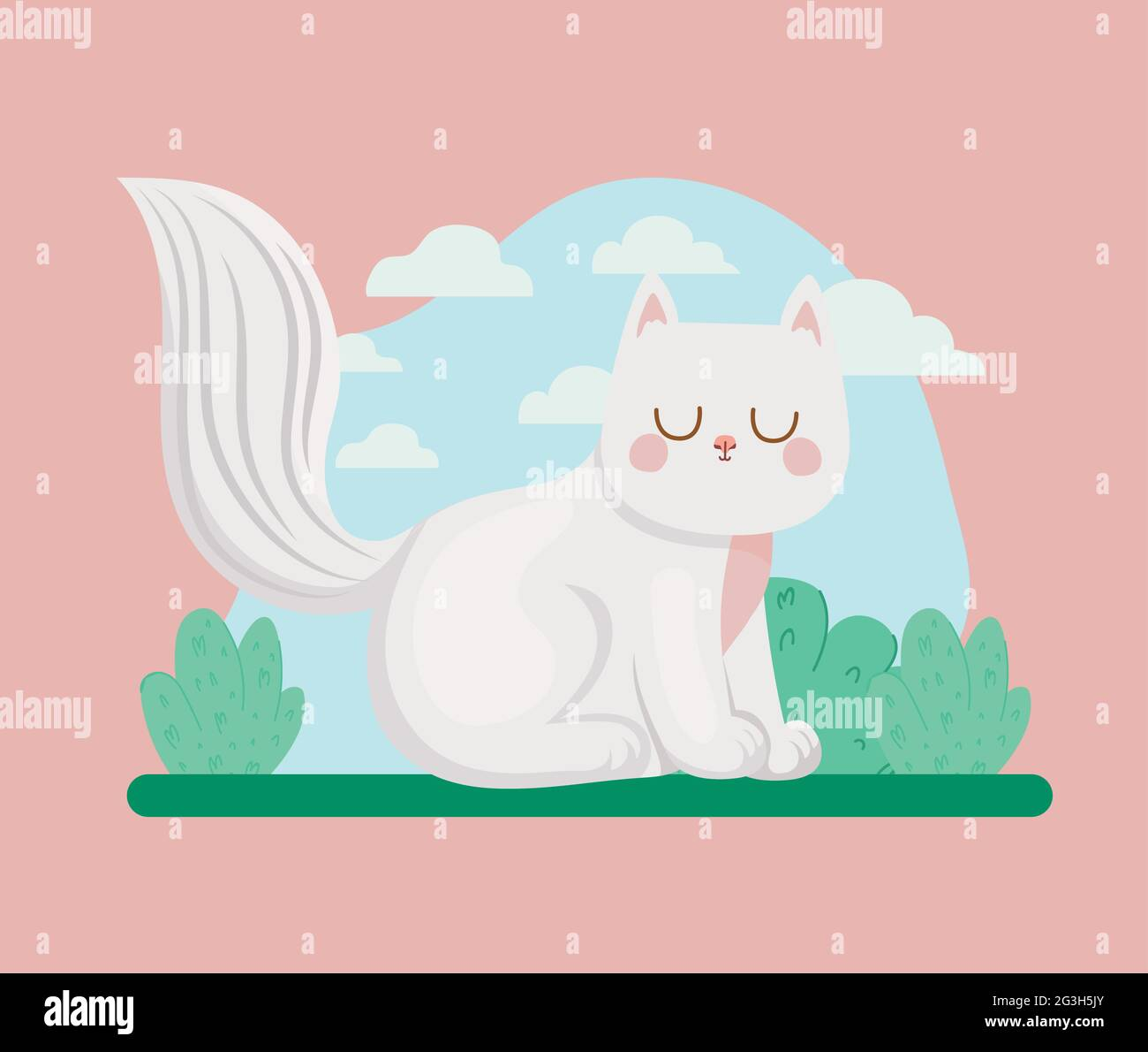 cat and bushes Stock Vector