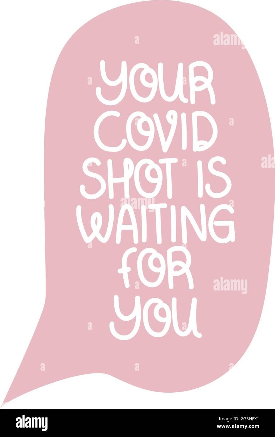 covid shot lettering Stock Vector