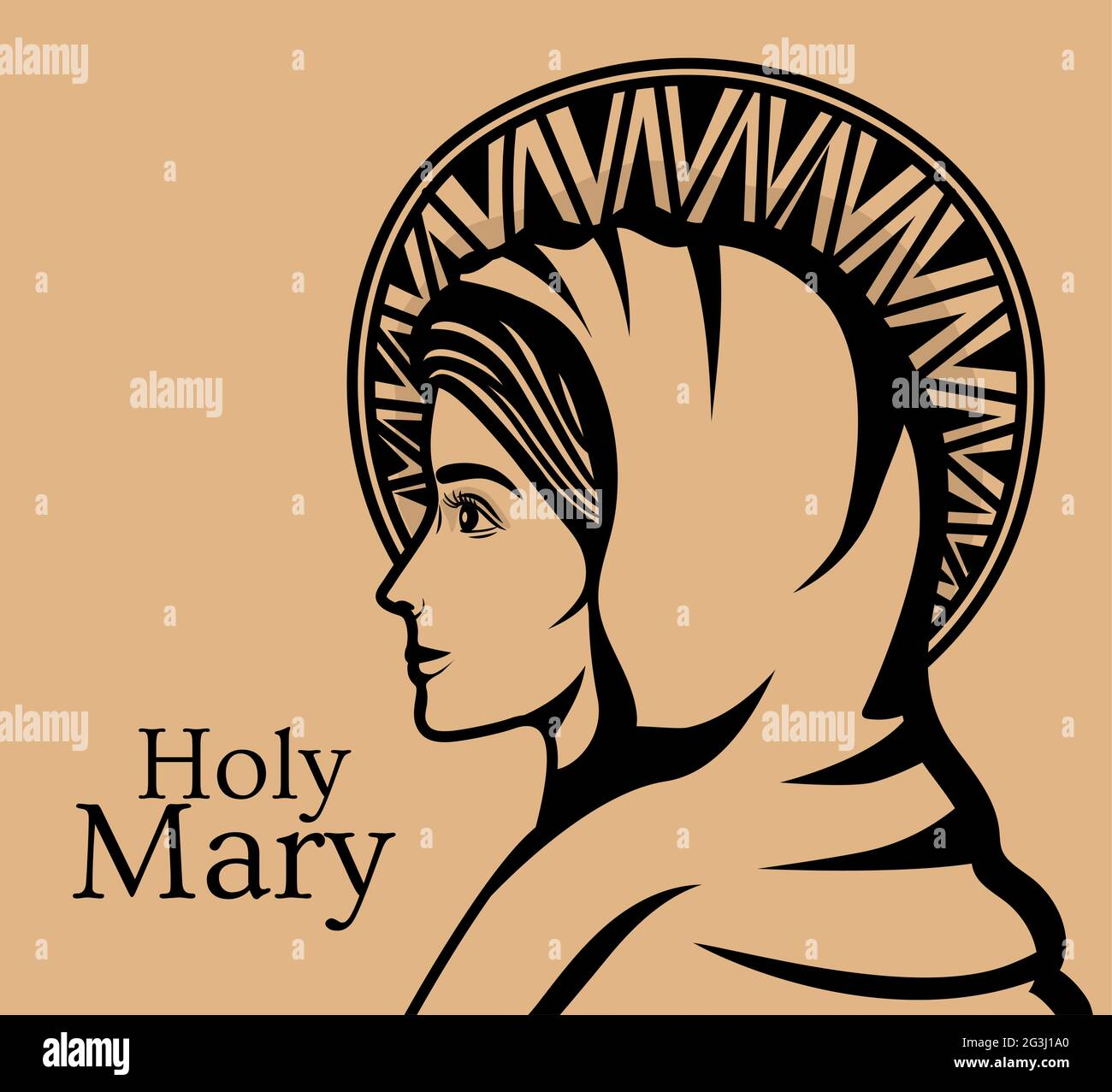 holy mary illustration Stock Vector